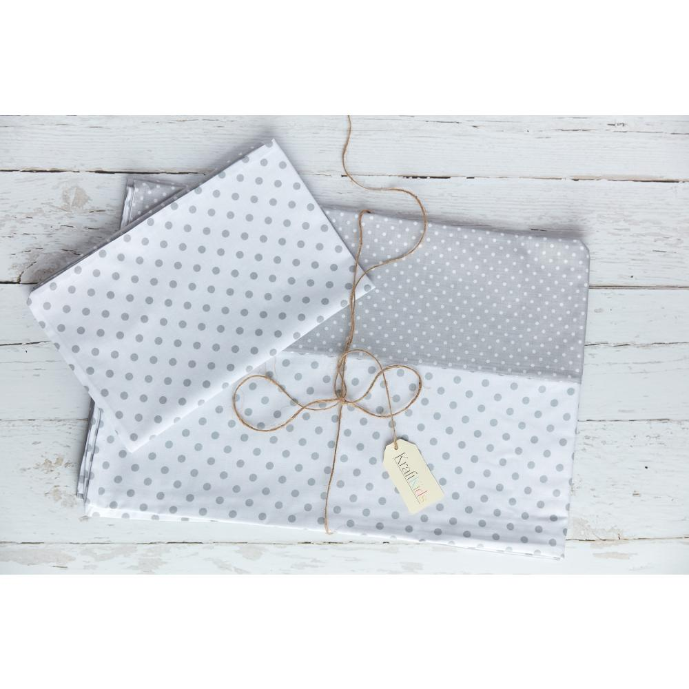 KraftKids Bettwäscheset weiße Punkte auf Grau und graue Punkte auf Weiss 140 x 200 cm, Kissen 80 x 80 cm