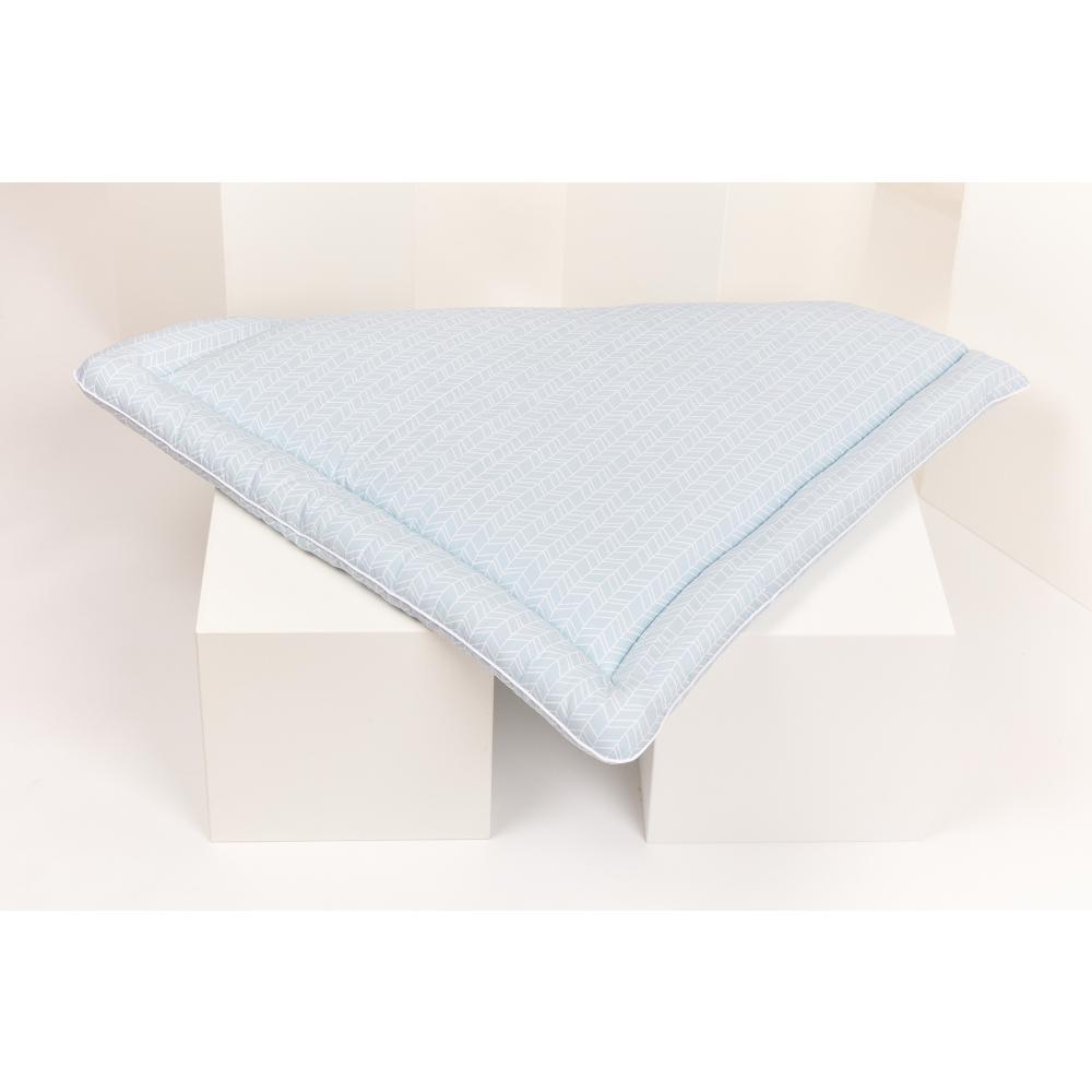 KraftKids Wickelauflage weiße Feder Muster auf Blau breit 78 x tief 78 cm z. B. für MALM oder HEMNES Kommodenaufsatz von KraftKids