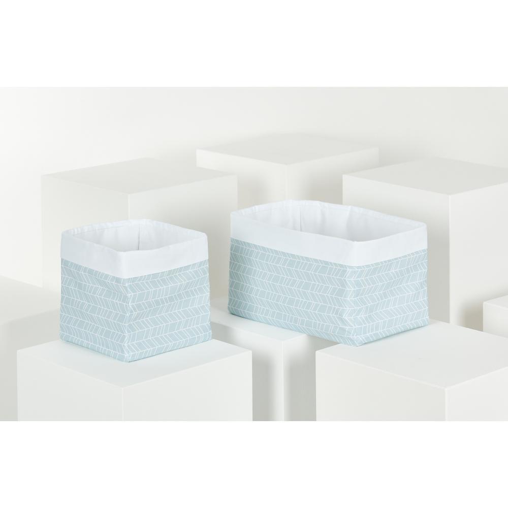KraftKids Körbchen weiße Feder Muster auf Blau 20 x 20 x 20 cm