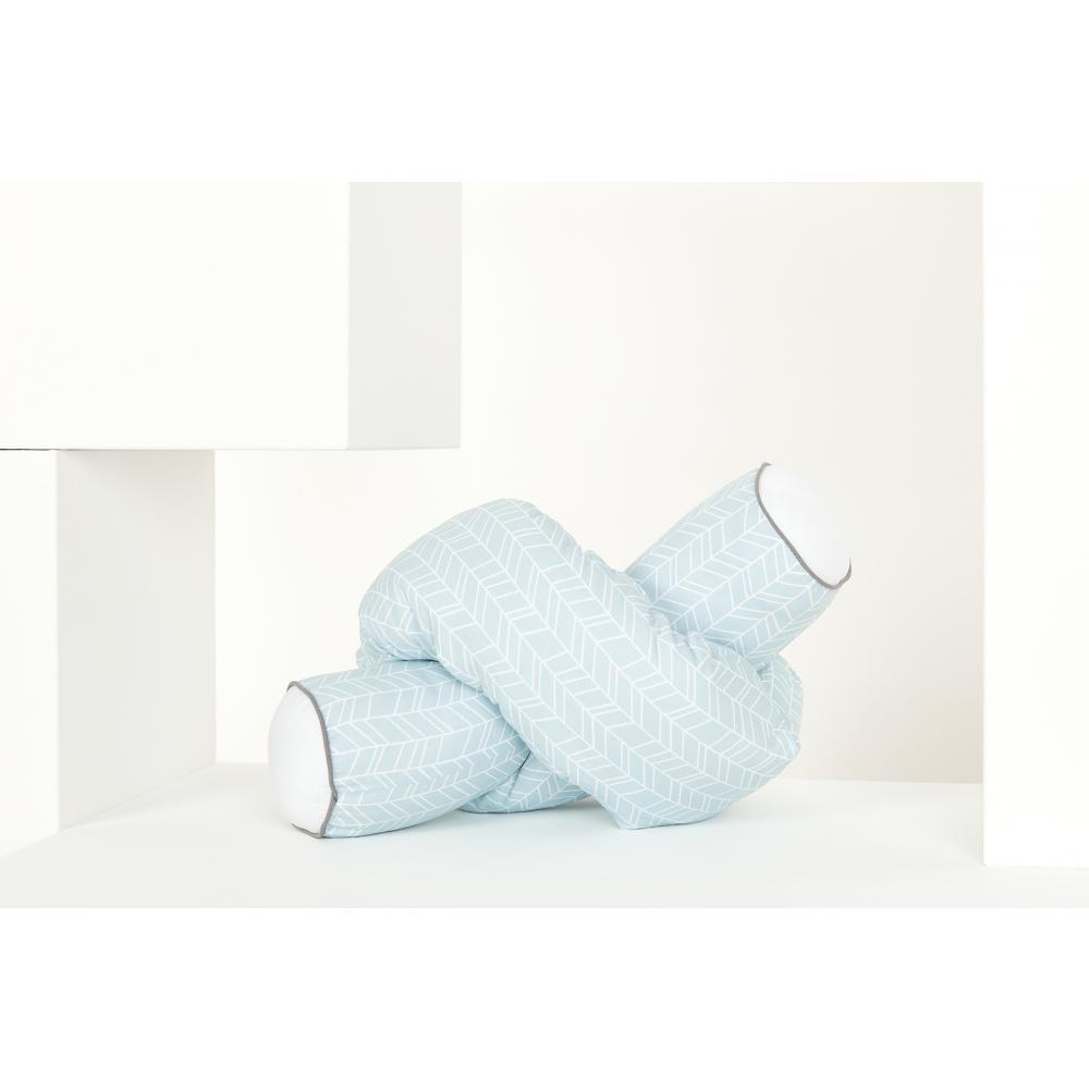 KraftKids Bettrolle weiße Feder Muster auf Blau Stärke: 10 cm, Rollenlänge 140 cm