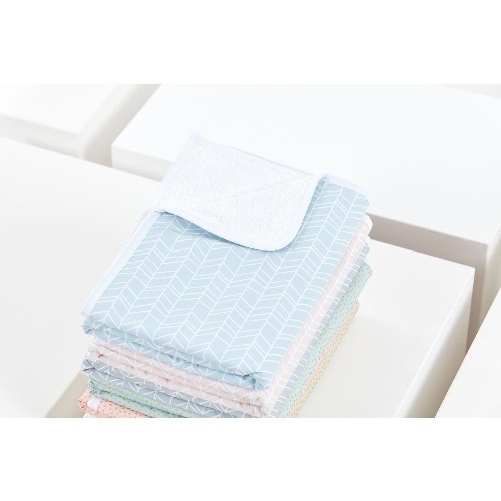 KraftKids Wickelunterlage weiße Feder Muster auf Blau 3 Lagen wasserundurchlässig weich Frotte 100% Baumwolle