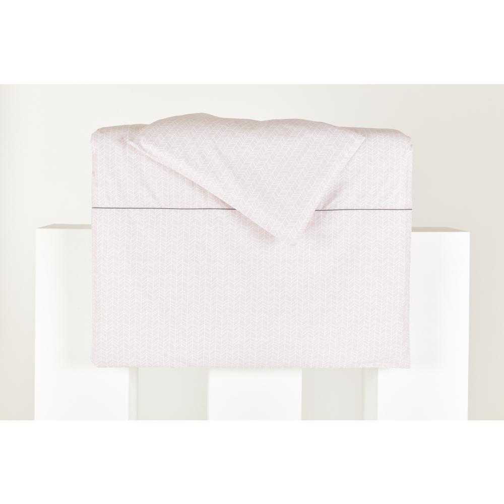 KraftKids Bettwäscheset weiße Feder Muster auf Rosa 100 x 135 cm, Kissen 40 x 60 cm