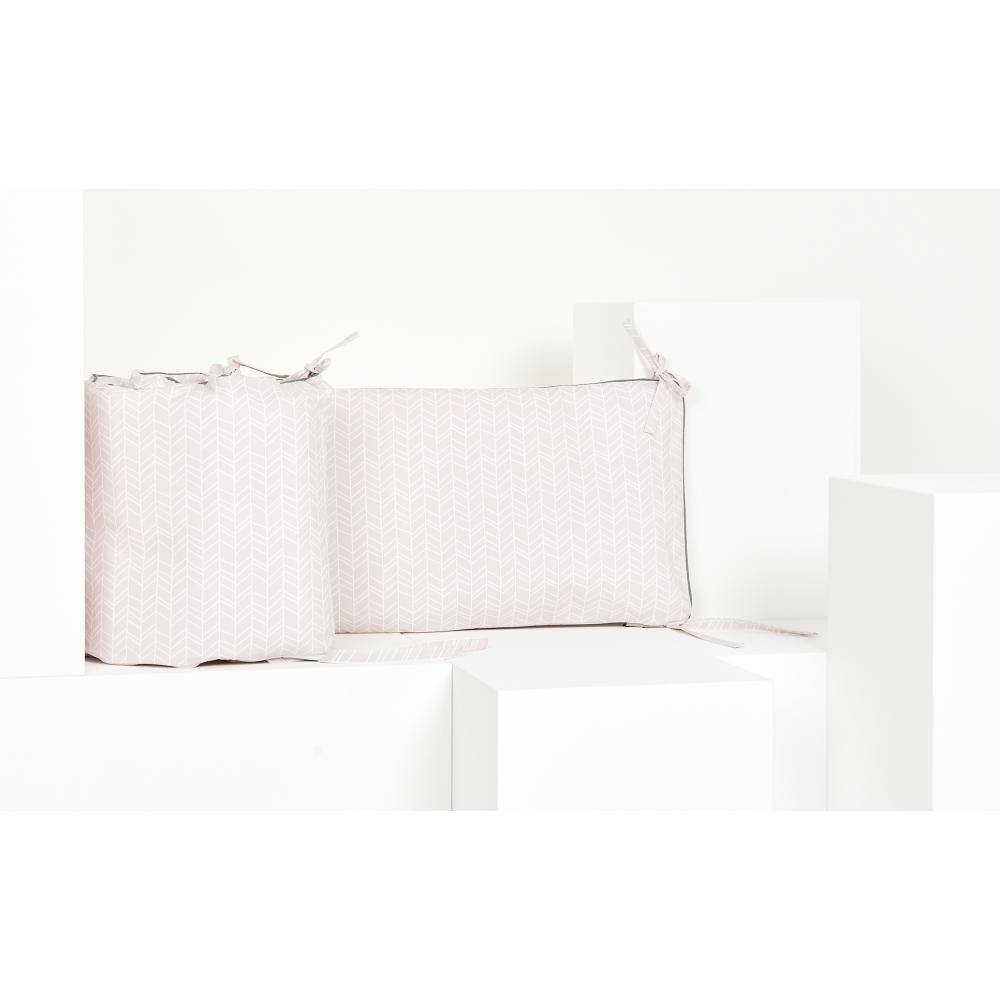 KraftKids Nestchen weiße Feder Muster auf Rosa Nestchenlänge 60-70-60 cm für Bettgröße 140 x 70 cm