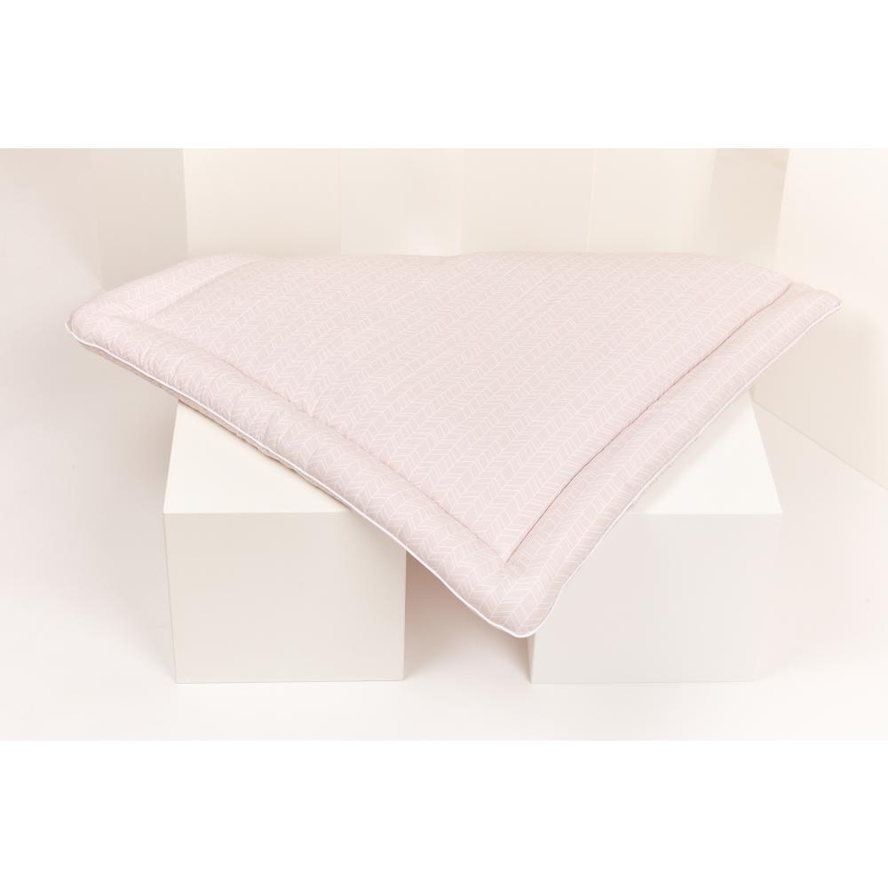KraftKids Wickelauflage weiße Feder Muster auf Rosa breit 75 x tief 70 cm