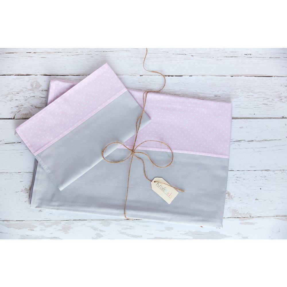KraftKids Bettwäscheset Unigrau und weiße Punkte auf Rosa 140 x 200 cm, Kissen 80 x 80 cm