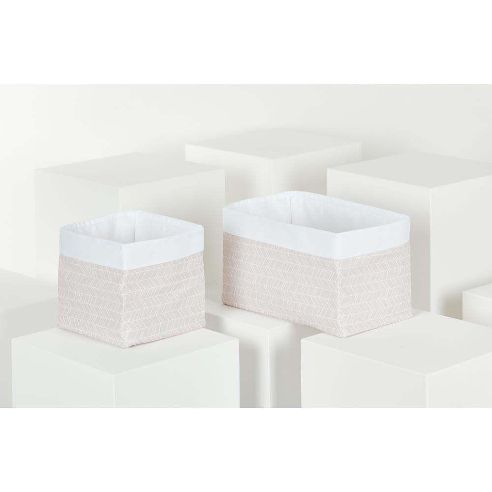 KraftKids Körbchen weiße Feder Muster auf Rosa 20 x 33 x 20 cm