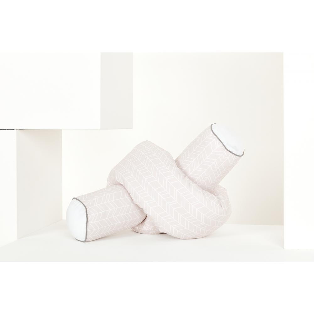 KraftKids Bettrolle weiße Feder Muster auf Rosa Stärke: 10 cm, Rollenlänge 140 cm