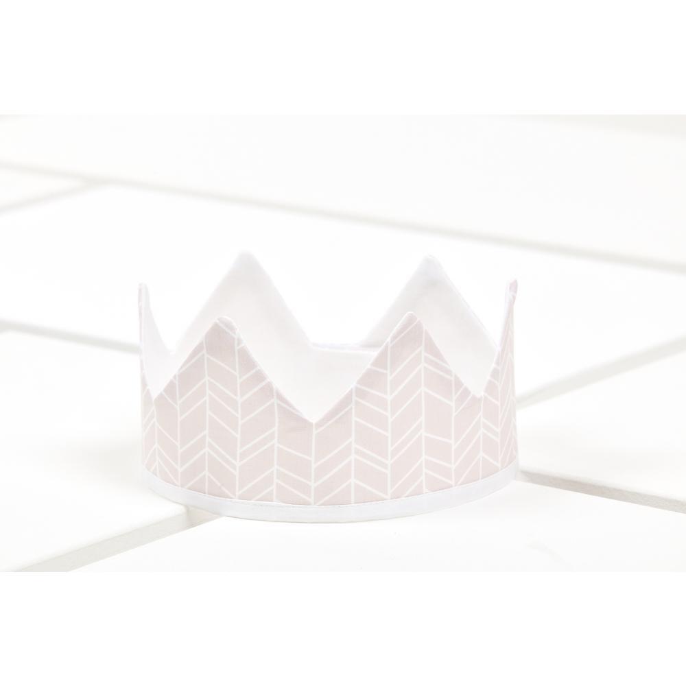 KraftKids Dekoration Stoffkrone weiße Feder Muster auf Rosa