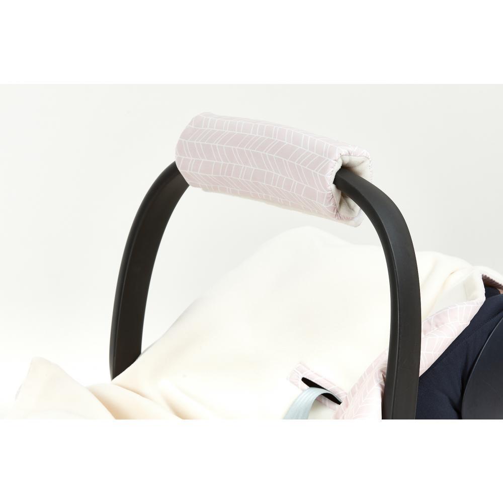 KraftKids Armschoner Babyschale weiße Feder Muster auf Rosa Babyschale Armpolster