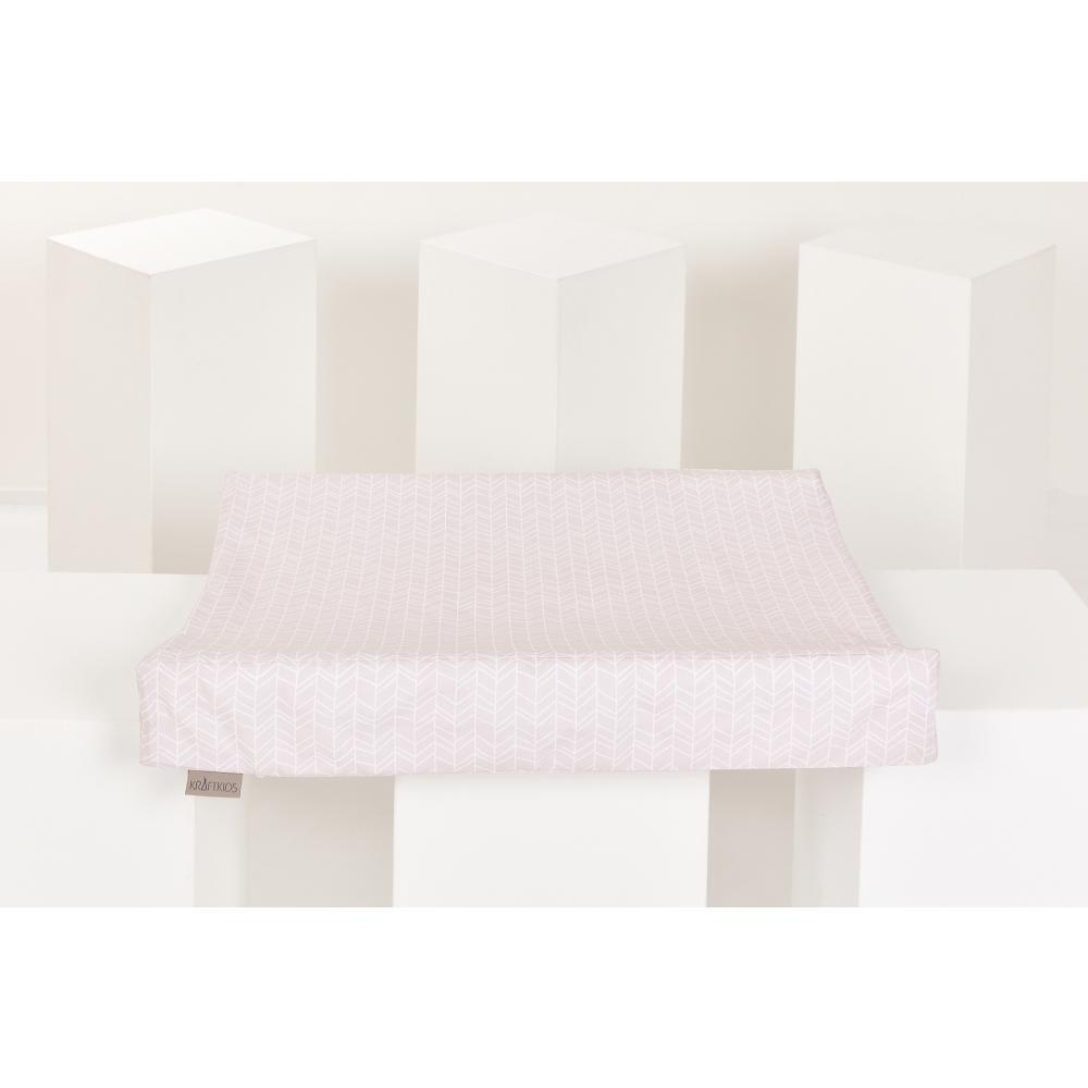 KraftKids Bezug für Keilwickelauflage weiße Feder Muster auf Rosa