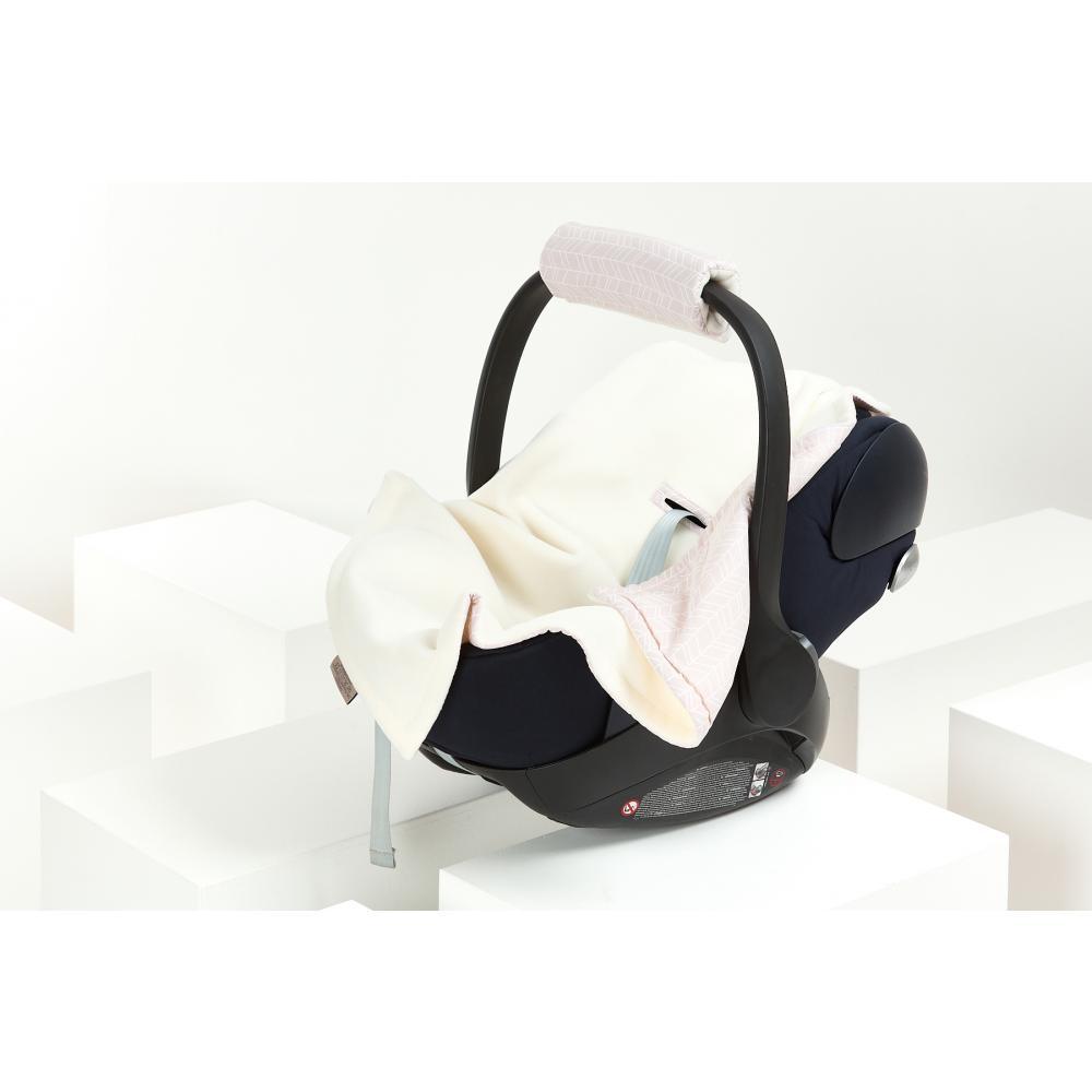 KraftKids Einschlagdecke für Babyschale Winter weiße Feder Muster auf Rosa