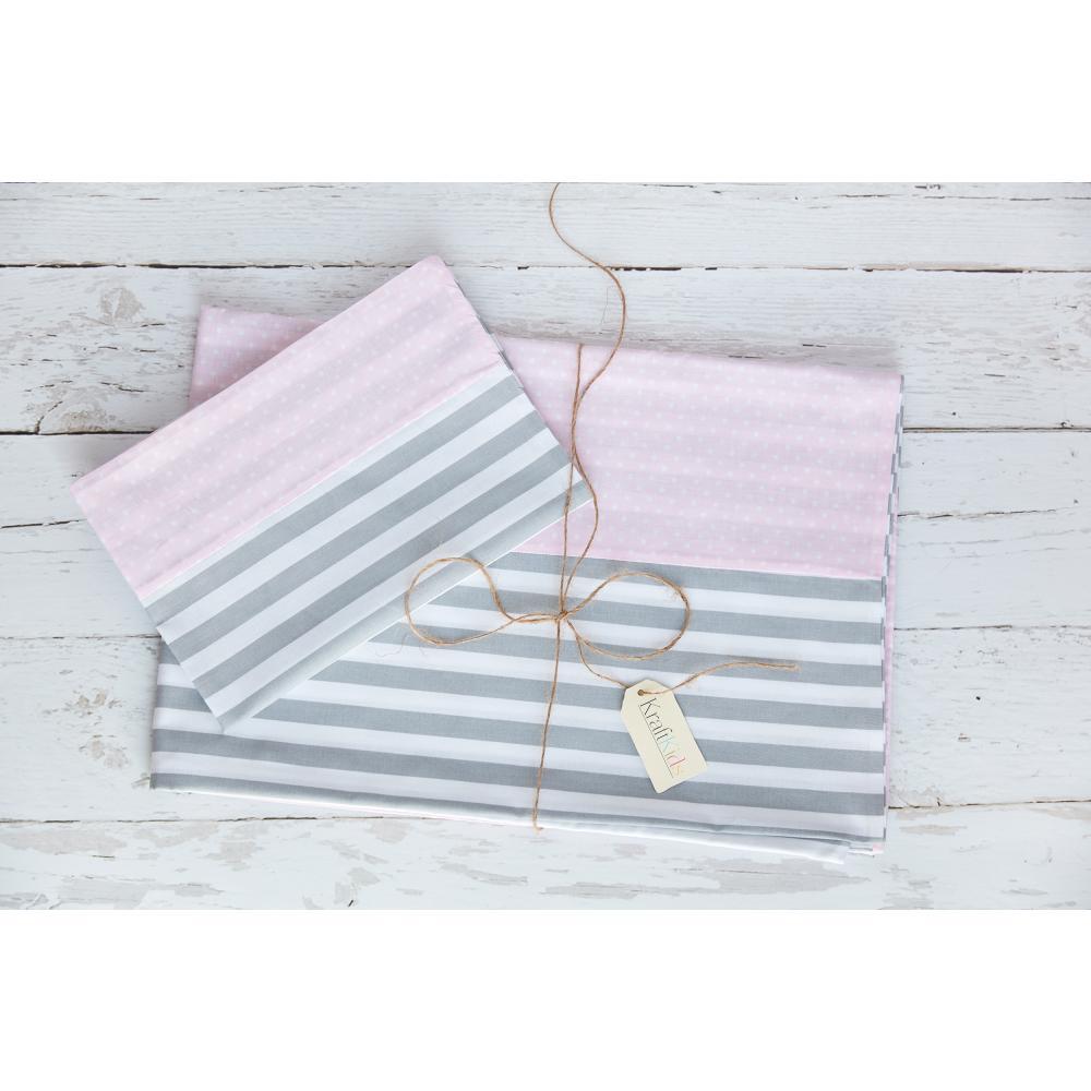 KraftKids Bettwäscheset weiße Punkte auf Rosa und dicke Streifen grau 140 x 200 cm, Kissen 80 x 80 cm
