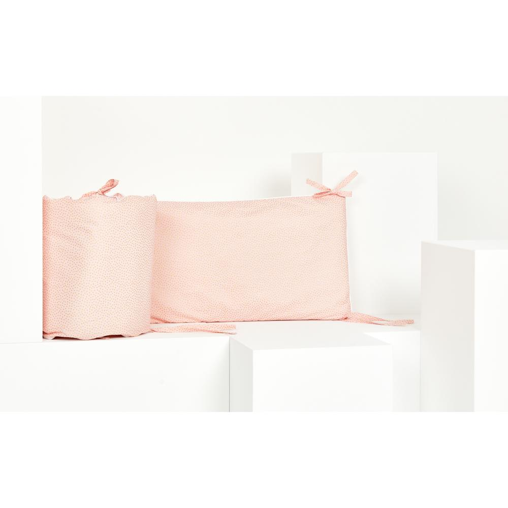 KraftKids Nestchen goldene unregelmäßige Punkte auf Rosa Nestchenlänge 60-70-60 cm für Bettgröße 140 x 70 cm