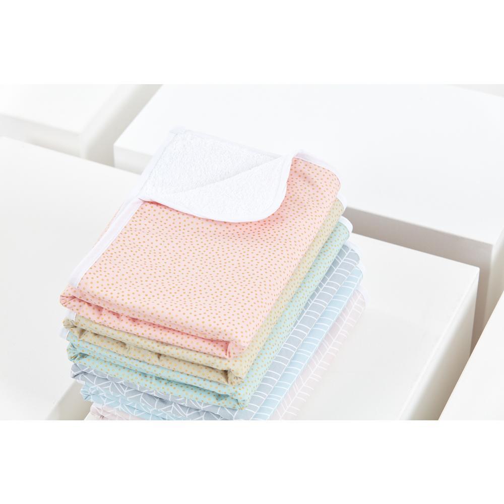 KraftKids Wickelunterlage goldene unregelmäßige Punkte auf Rosa 3 Lagen wasserundurchlässig weich Frotte 100% Baumwolle