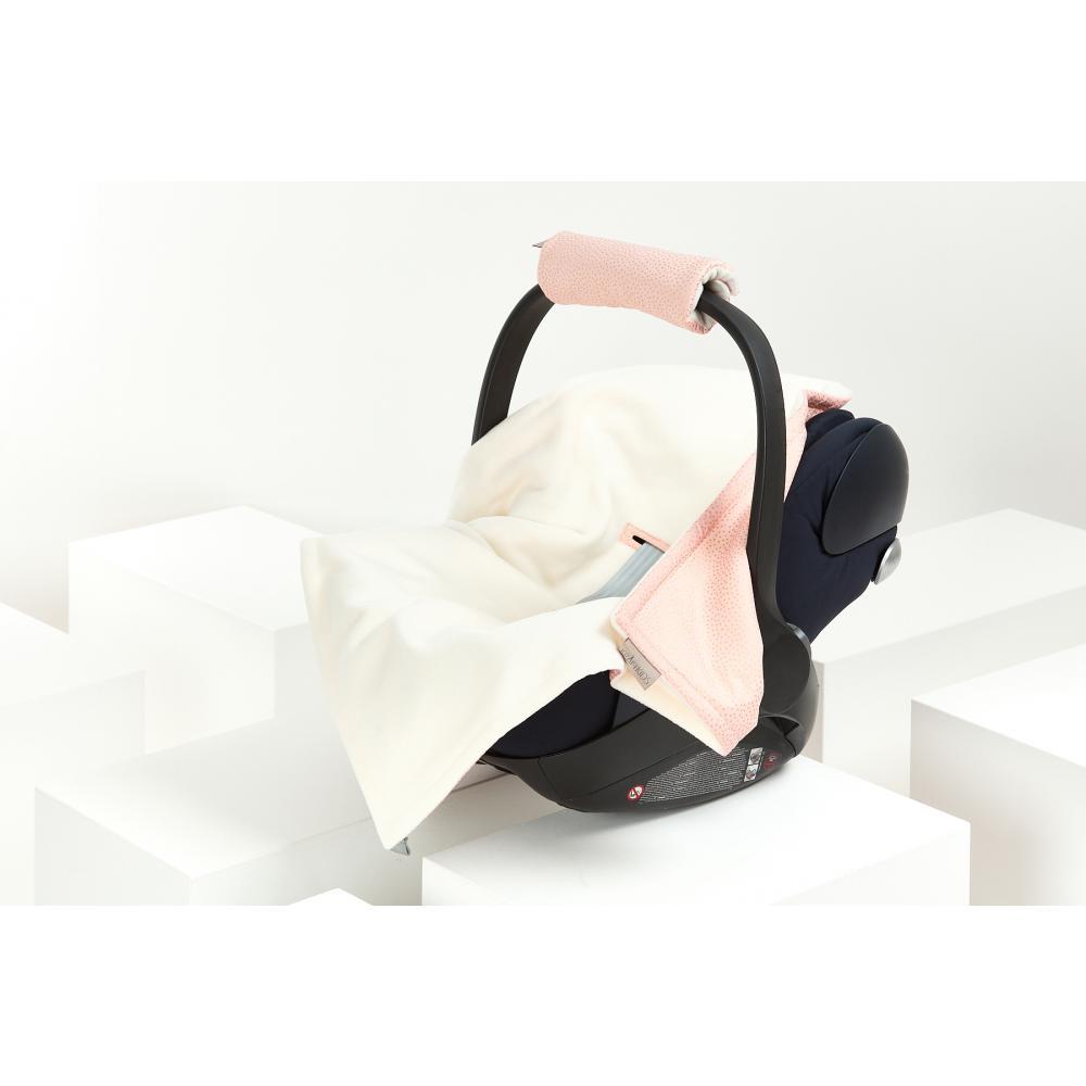 KraftKids Decke für Babyschale Winter goldene unregelmäßige Punkte auf Rosa