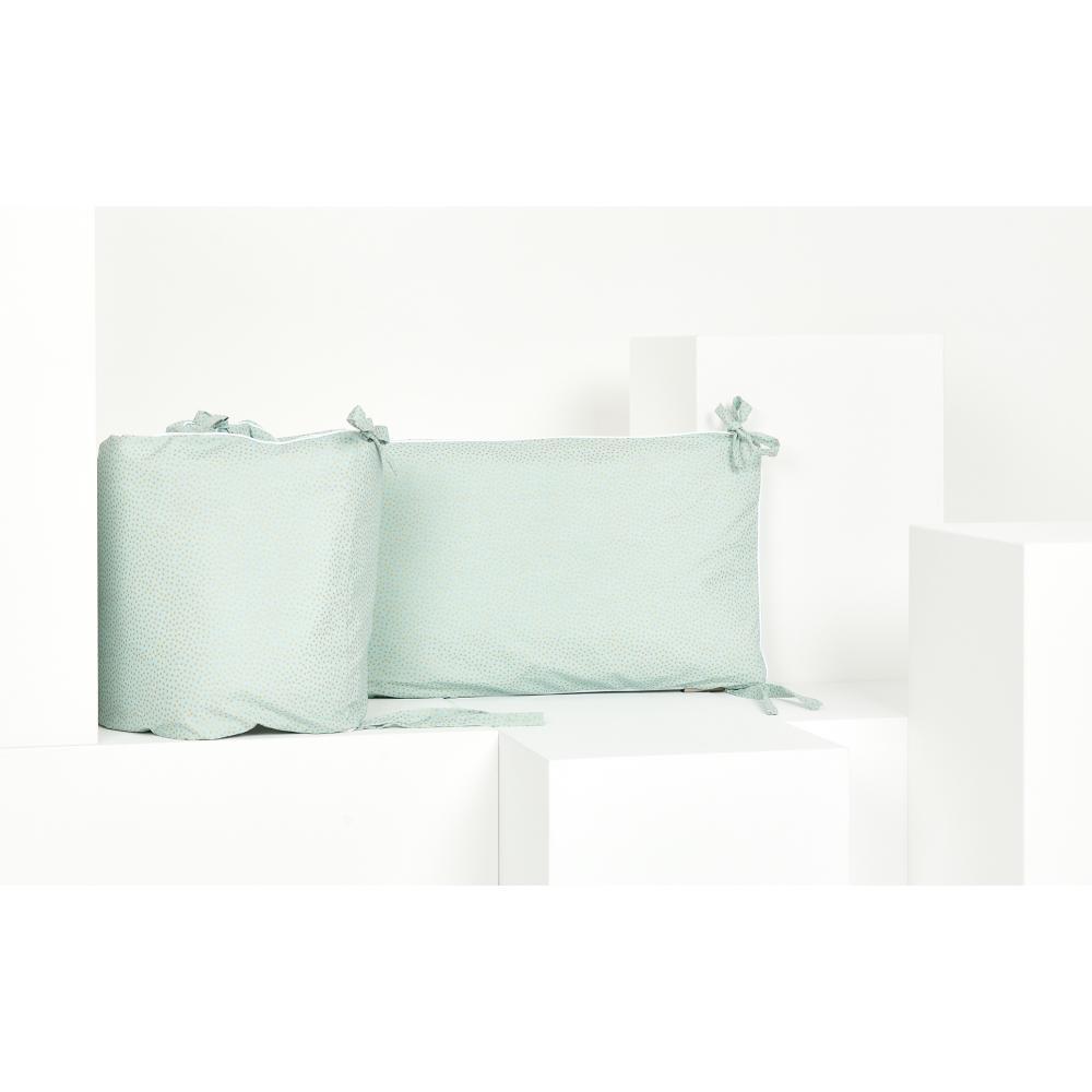 KraftKids Nestchen goldene unregelmäßige Punkte auf hellem Mint Nestchenlänge 60-70-60 cm für Bettgröße 140 x 70 cm