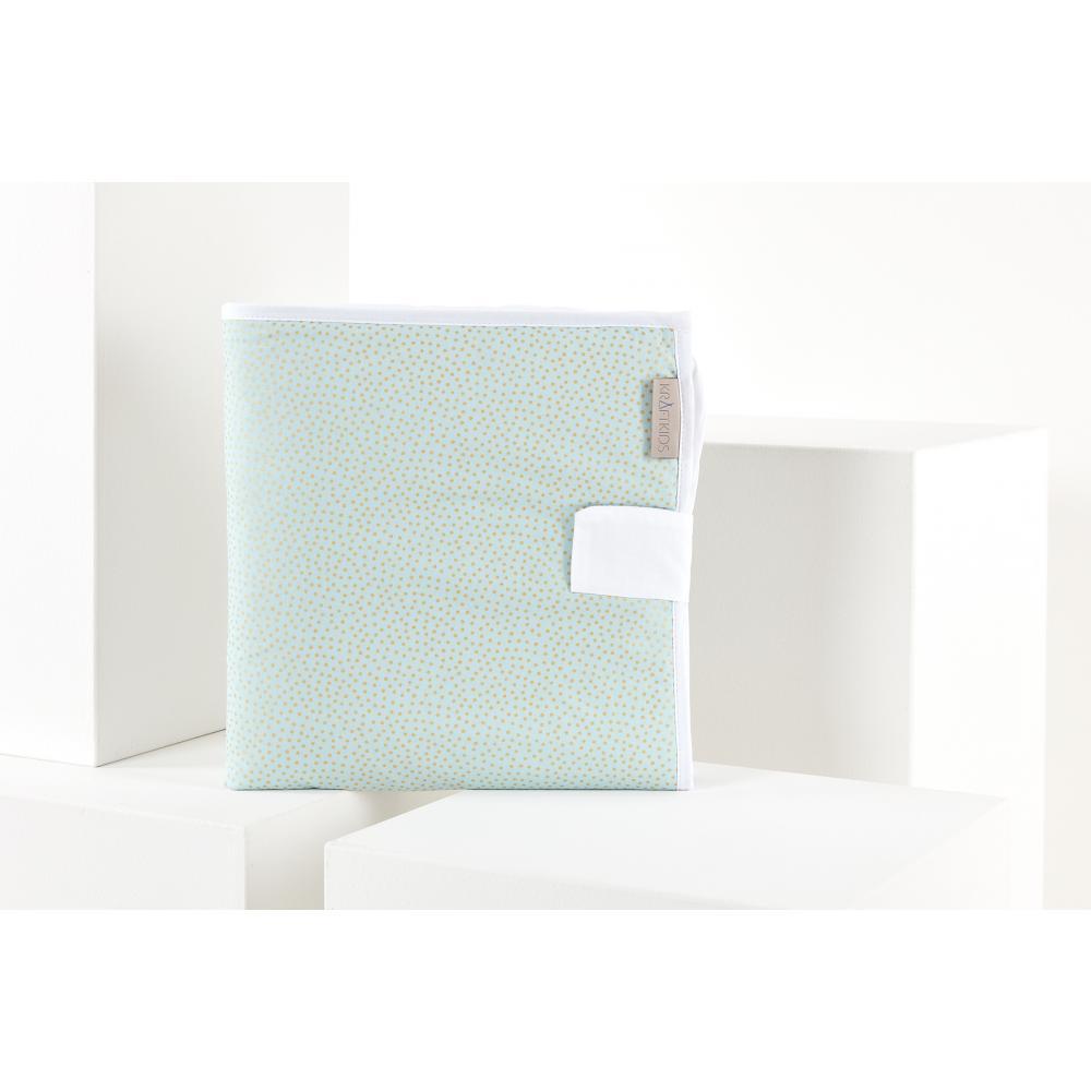 KraftKids Reisewickelunterlage goldene unregelmäßige Punkte auf hellem Mint 3 Lagen wasserundurchlässig weich Frotte 100% Baumwolle