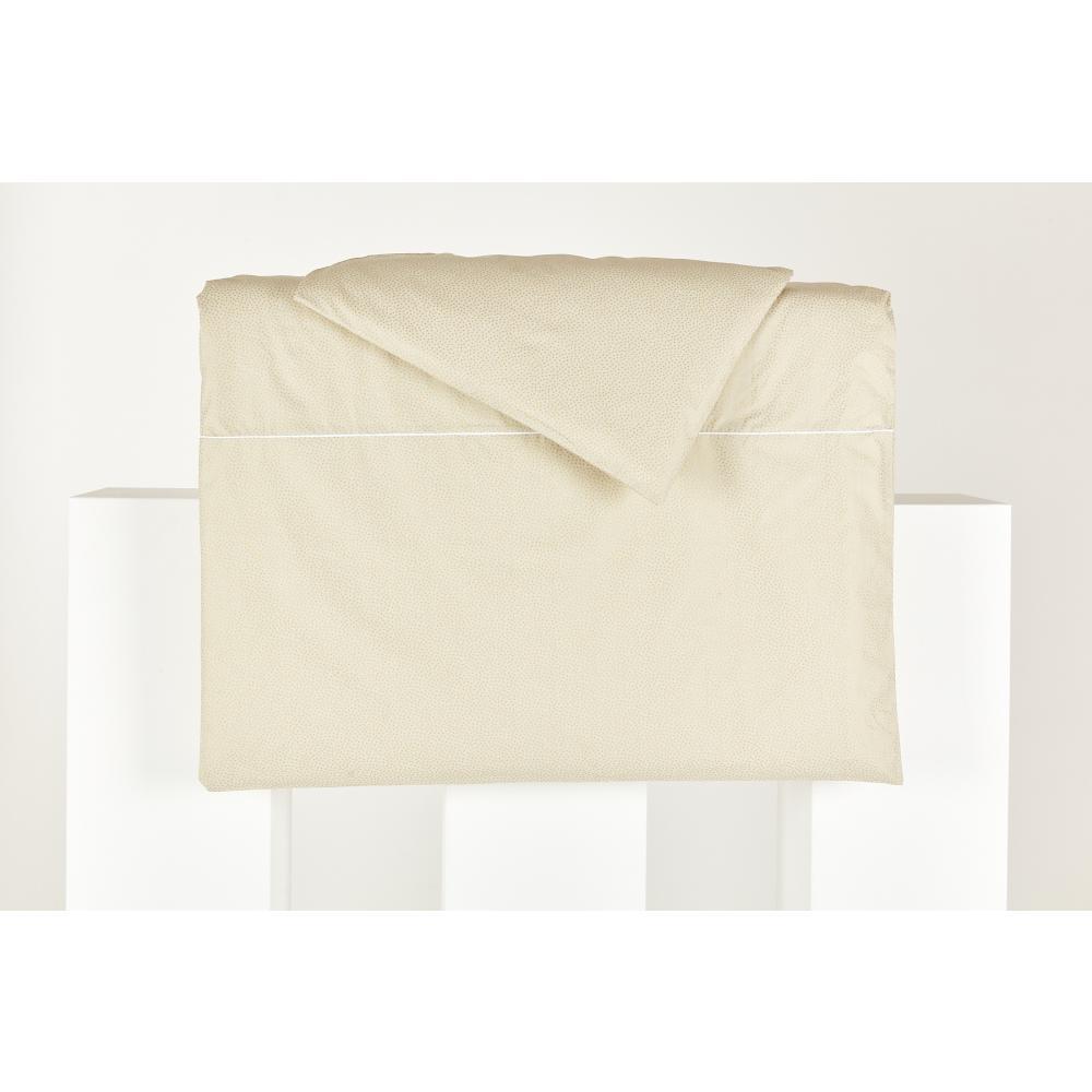 KraftKids Bettwäscheset goldene unregelmäßige Punkte auf olivem Grün 140 x 200 cm, Kissen 80 x 80 cm
