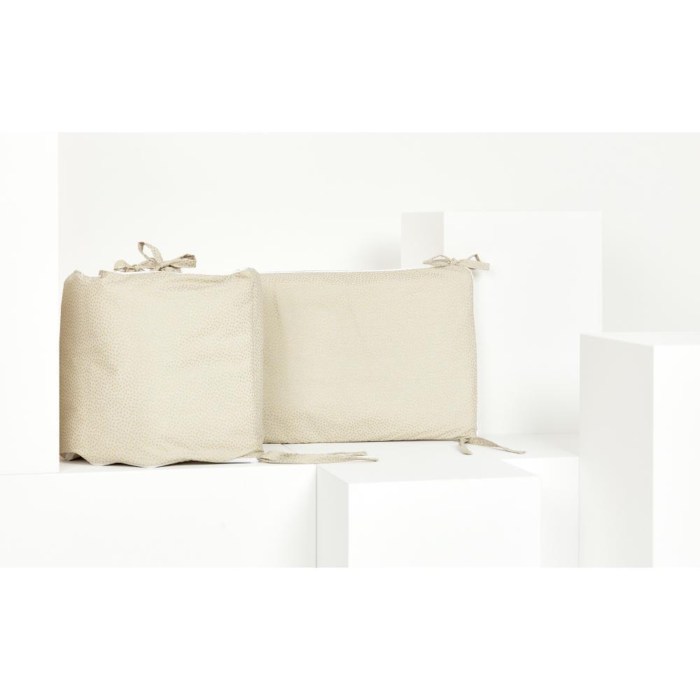 KraftKids Nestchen goldene unregelmäßige Punkte auf olivem Grün Nestchenlänge 60-60-60 cm für Bettgröße 120 x 60 cm