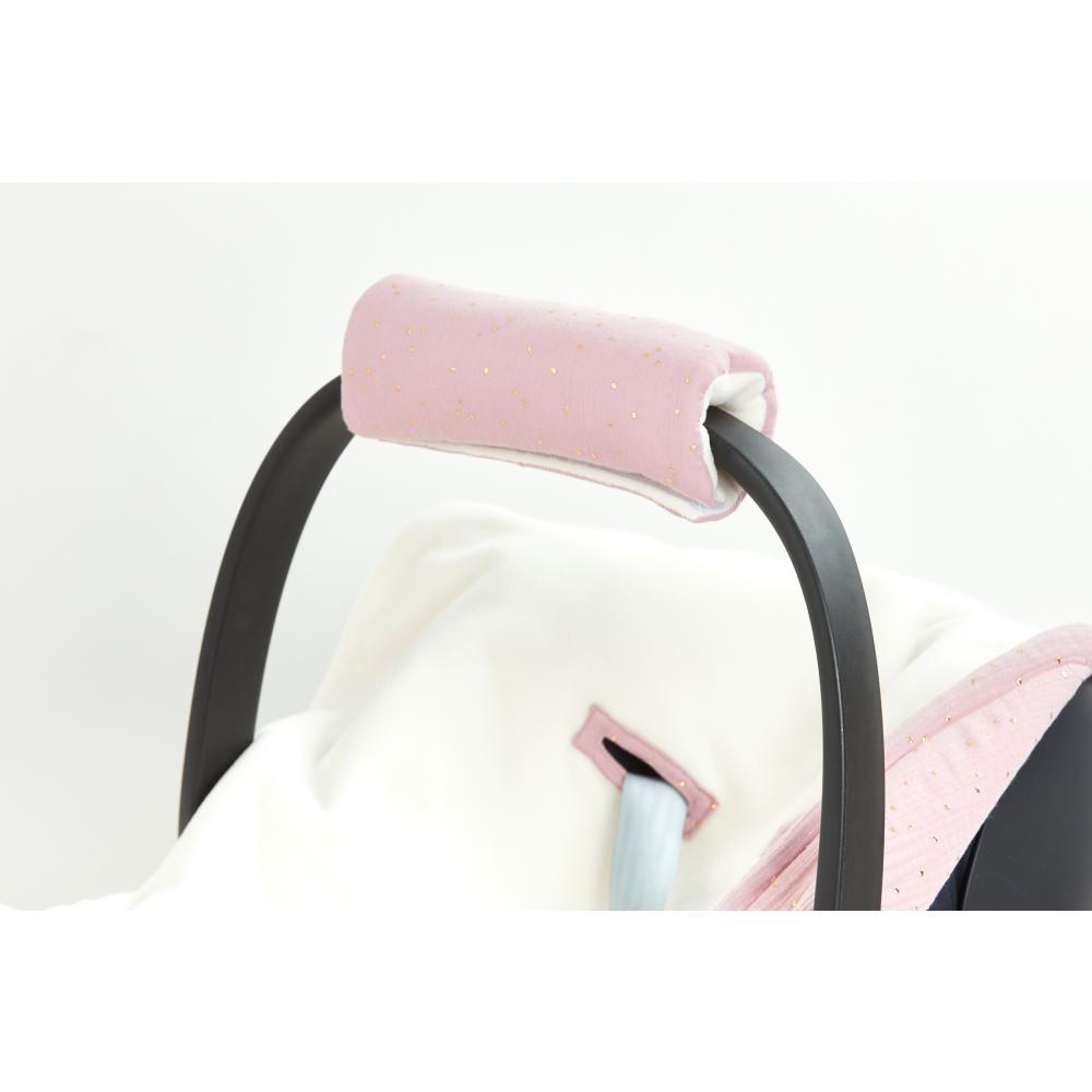 KraftKids Armschoner Babyschale Musselin goldene Punkte auf Rosa Babyschale Armpolster