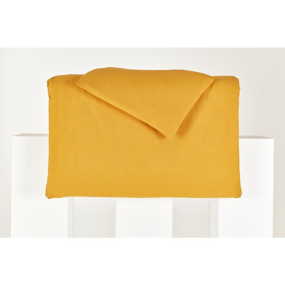 KraftKids Bettwäscheset Musselin goldene Punkte auf Gelb 140 x 200 cm, Kissen 80 x 80 cm