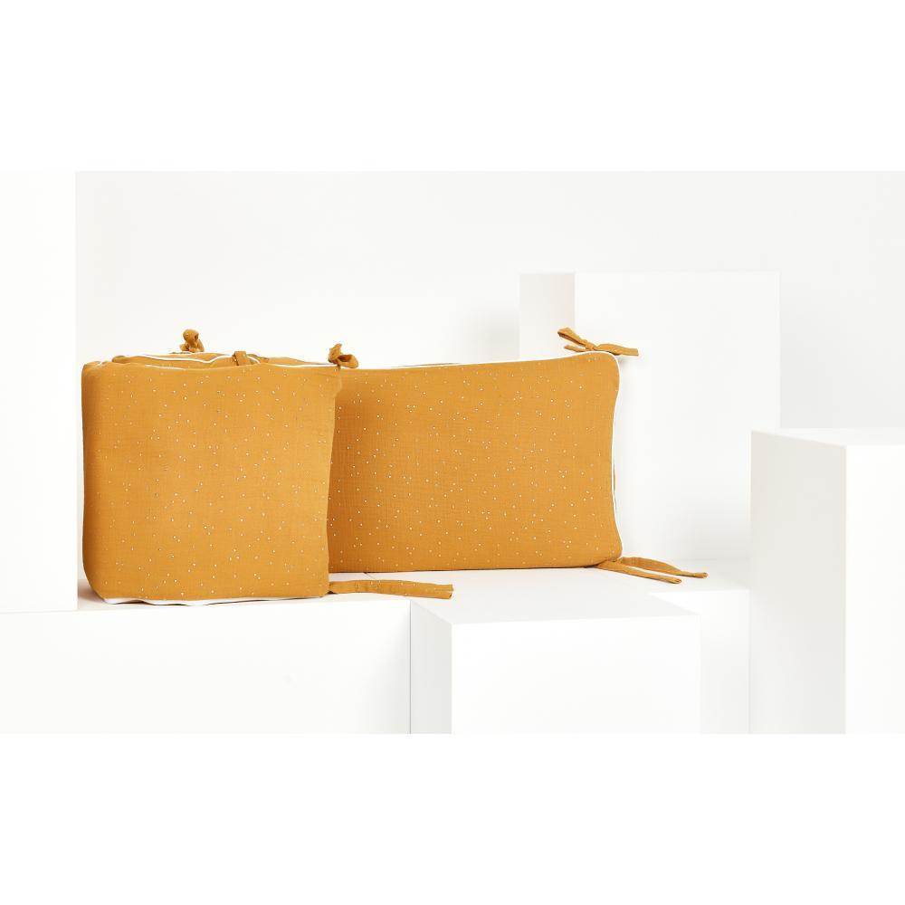 KraftKids Nestchen Musselin goldene Punkte auf Gelb Nestchenlänge 60-70-60 cm für Bettgröße 140 x 70 cm