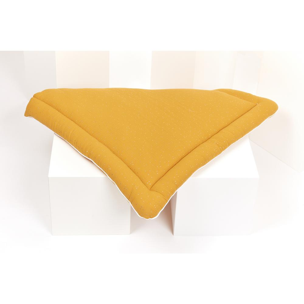 KraftKids Wickelauflage Musselin goldene Punkte auf Gelb breit 60 x tief 70 cm passend für Waschmaschinen-Aufsatz von KraftKids