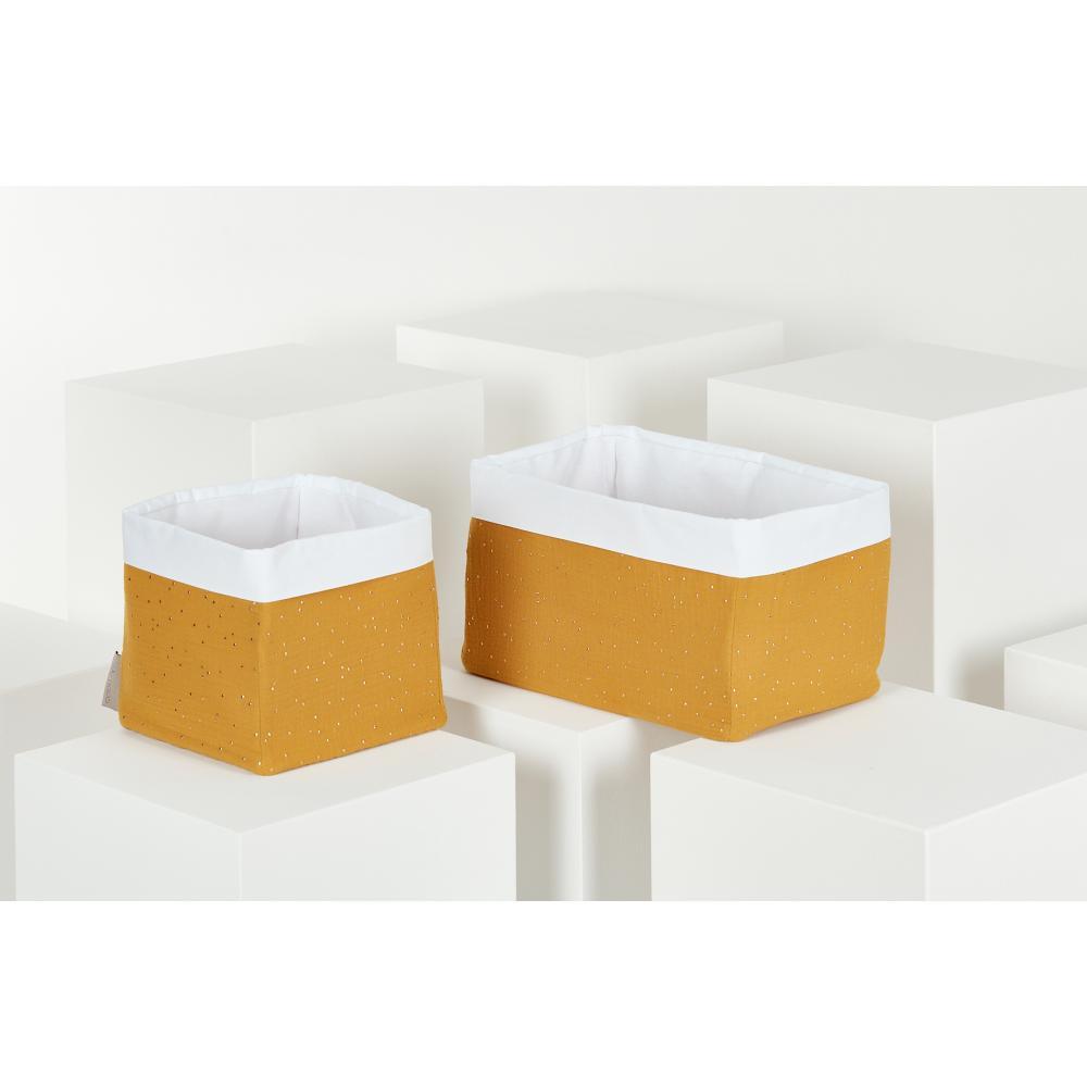 KraftKids Körbchen Musselin goldene Punkte auf Gelb 20 x 20 x 20 cm