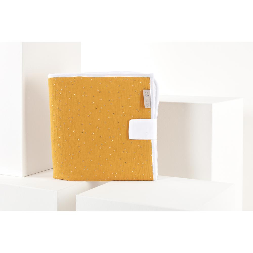 KraftKids Reisewickelunterlage Musselin goldene Punkte auf Gelb 3 Lagen wasserundurchlässig weich Frotte 100% Baumwolle