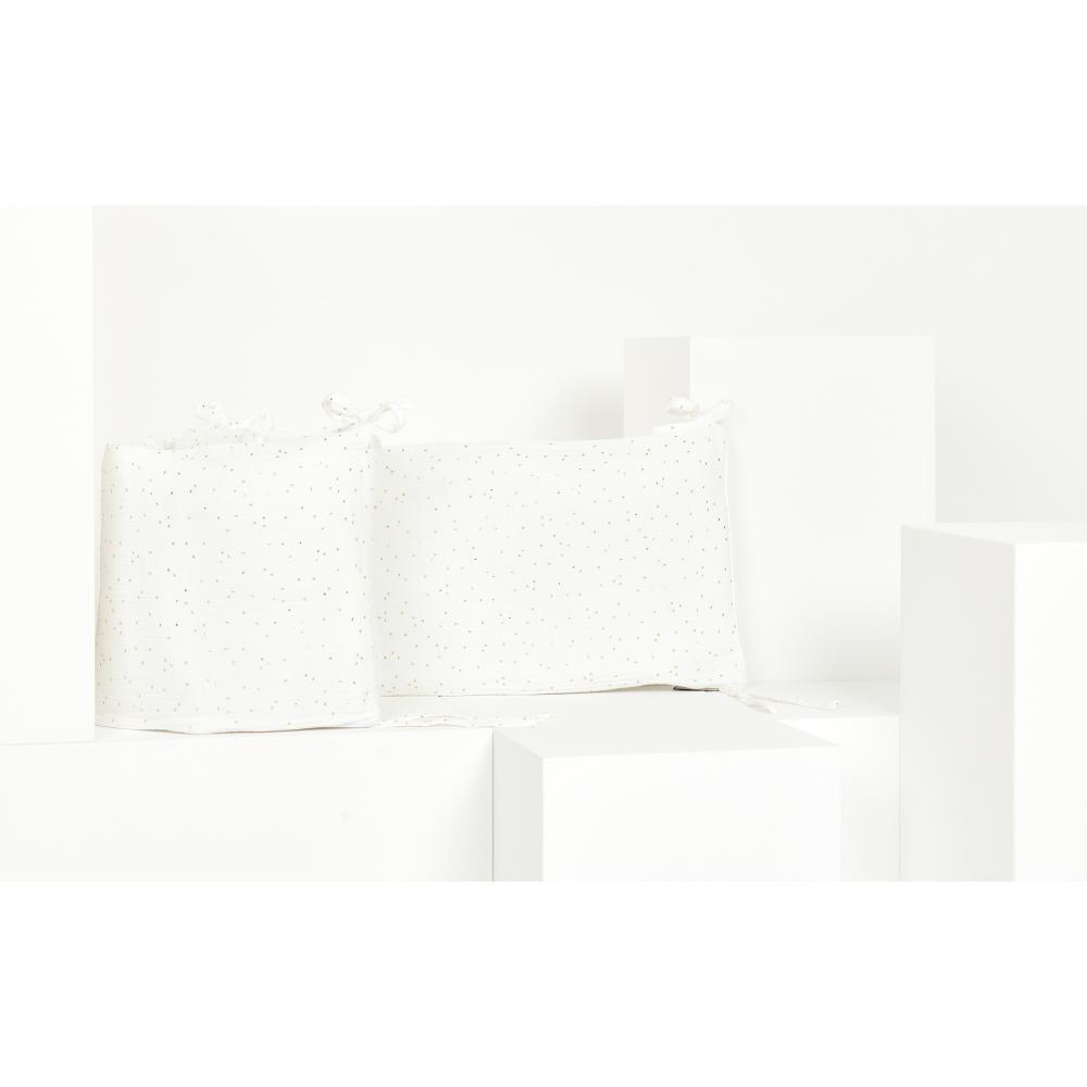 KraftKids Nestchen Musselin goldene Punkte auf Weiß Nestchenlänge 60-60-60 cm für Bettgröße 120 x 60 cm