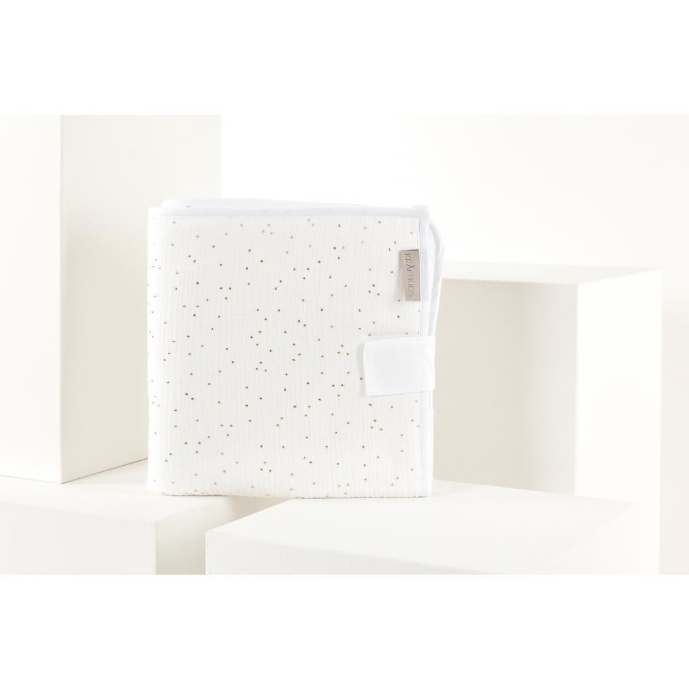 KraftKids Reisewickelunterlage Musselin goldene Punkte auf Weiß 3 Lagen wasserundurchlässig weich Frotte 100% Baumwolle