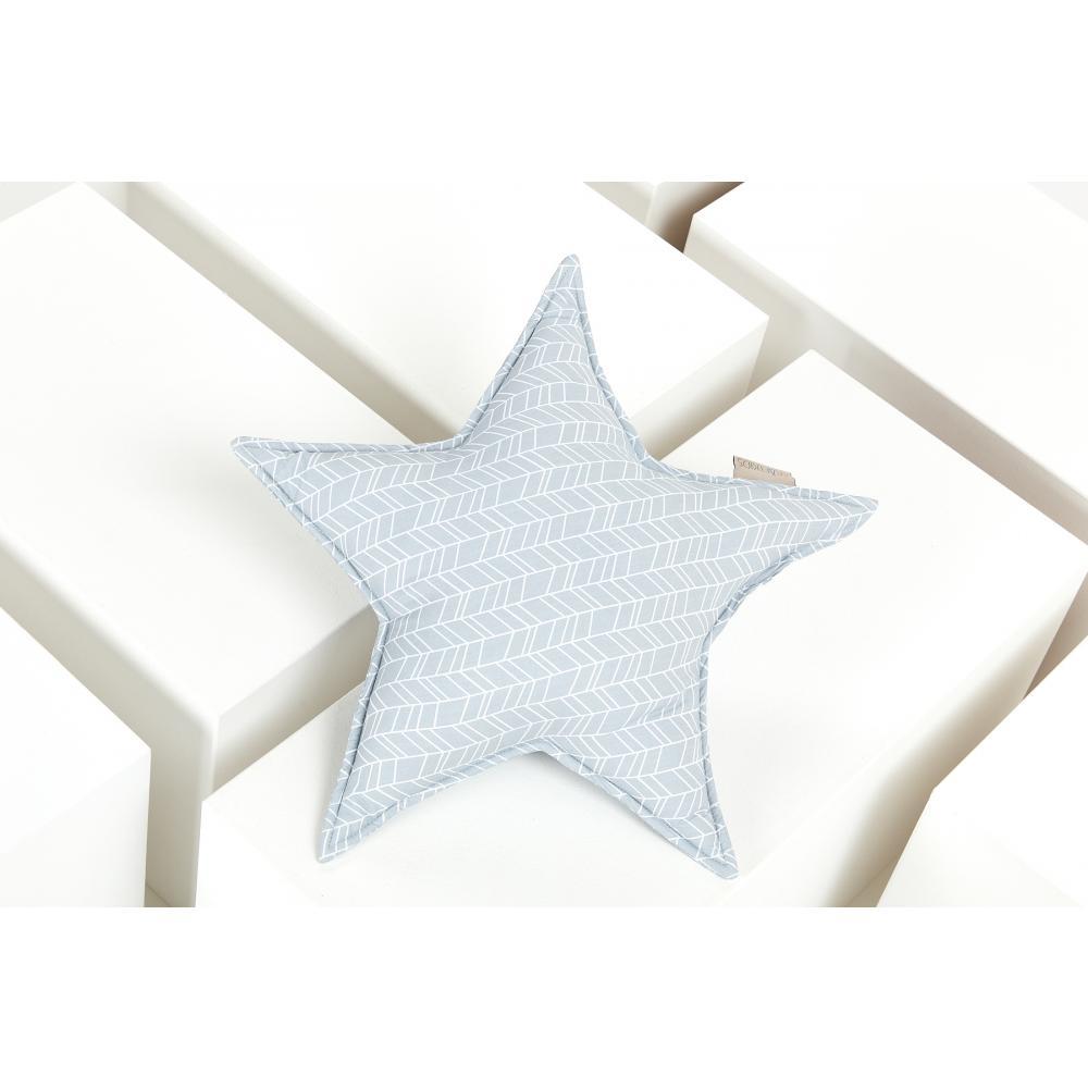 KraftKids Dekoration Sternkissen weiße Feder Muster auf Grau
