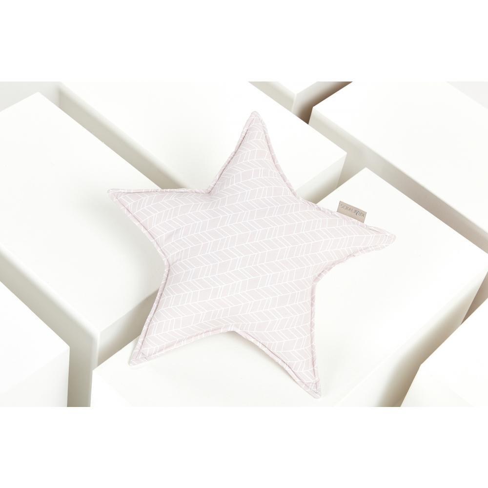 KraftKids Dekoration Sternkissen weiße Feder Muster auf Rosa