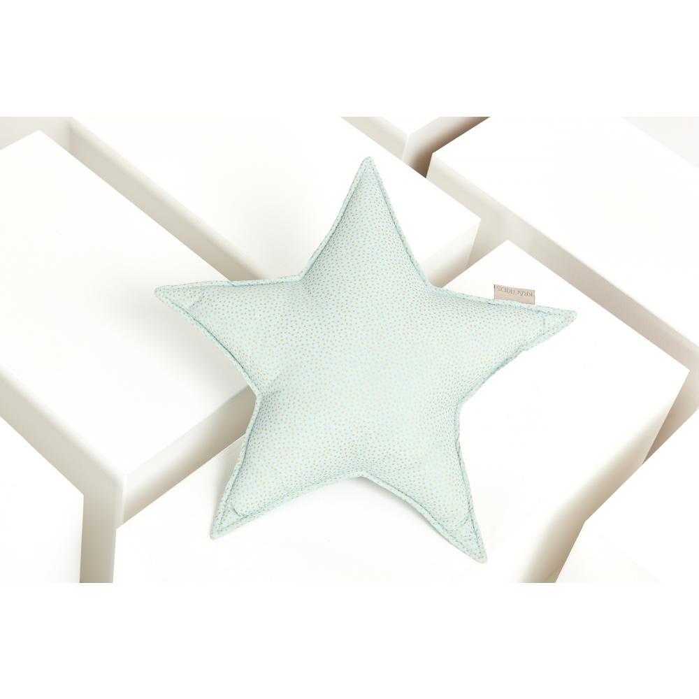KraftKids Dekoration Sternkissen goldene unregelmäßige Punkte auf hellem Mint