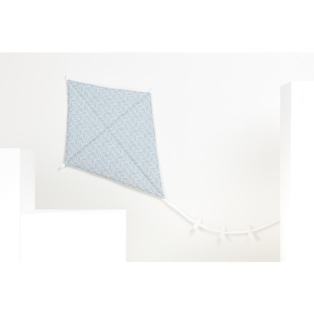 KraftKids Dekoration Luftdrache weiße Feder Muster auf Grau