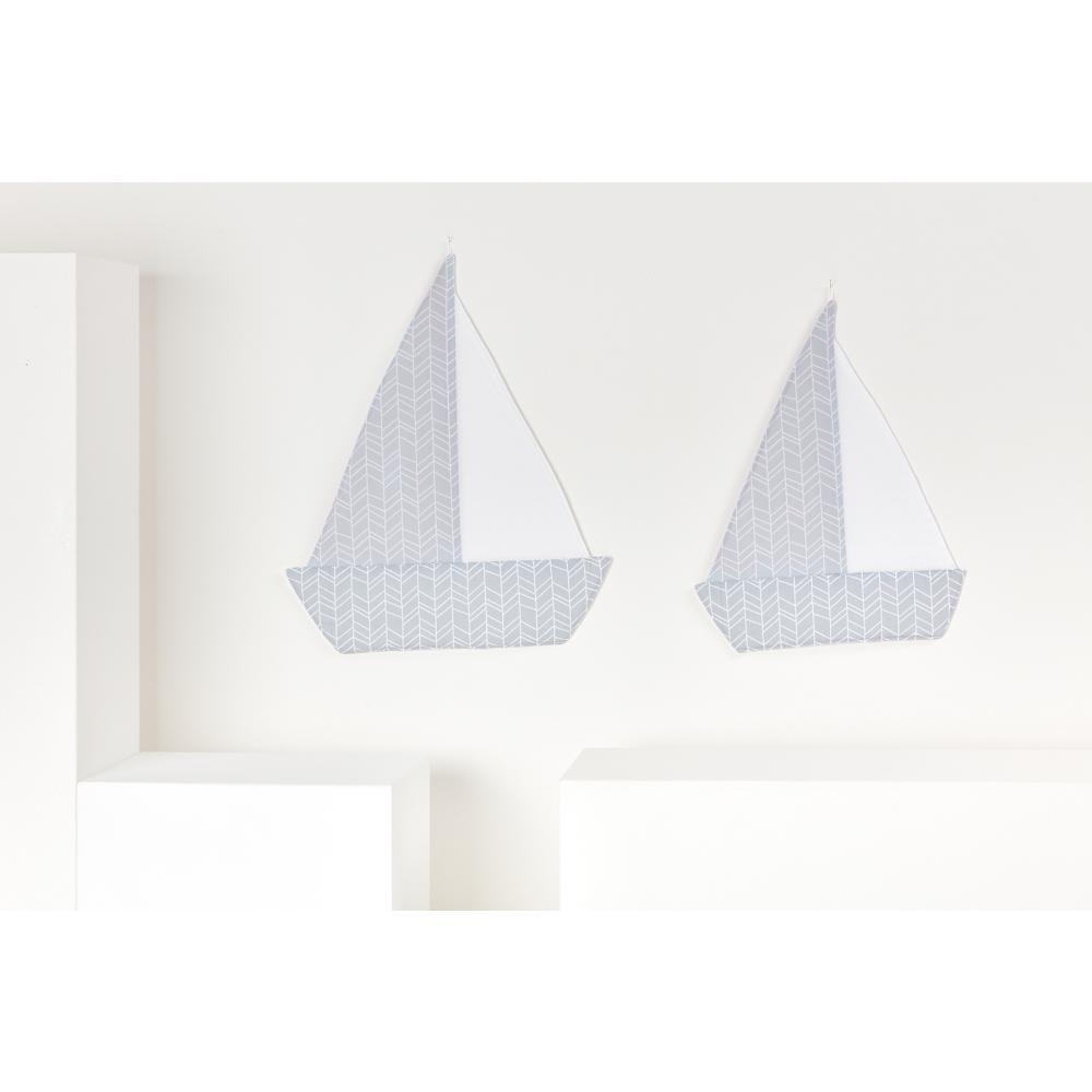 KraftKids Dekoration Segelboot weiße Feder Muster auf Blau und weiße Feder Muster auf Grau