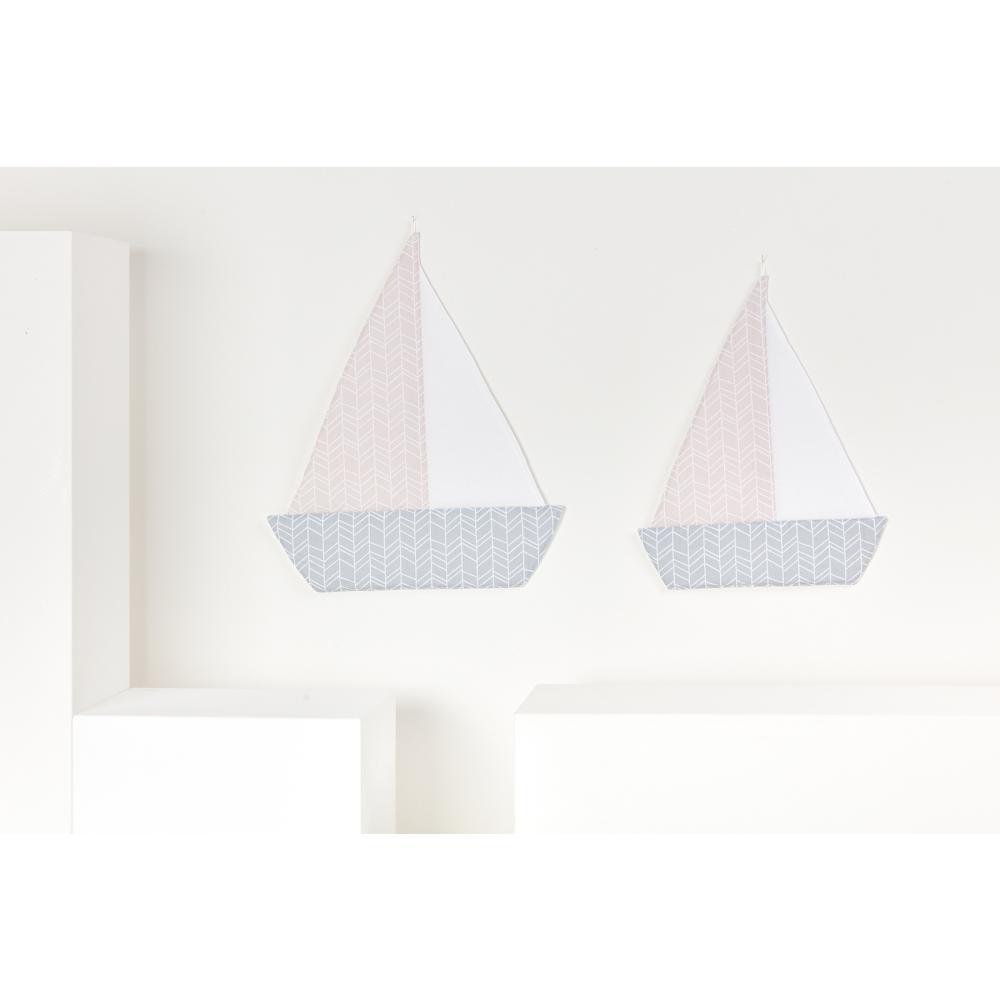 KraftKids Dekoration Segelboot weiße Feder Muster auf Rosa