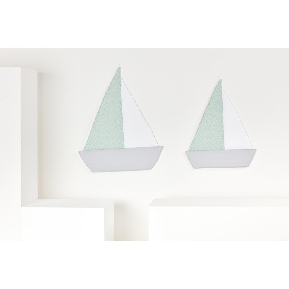 KraftKids Dekoration Segelboot goldene unregelmäßige Punkte auf hellem Mint