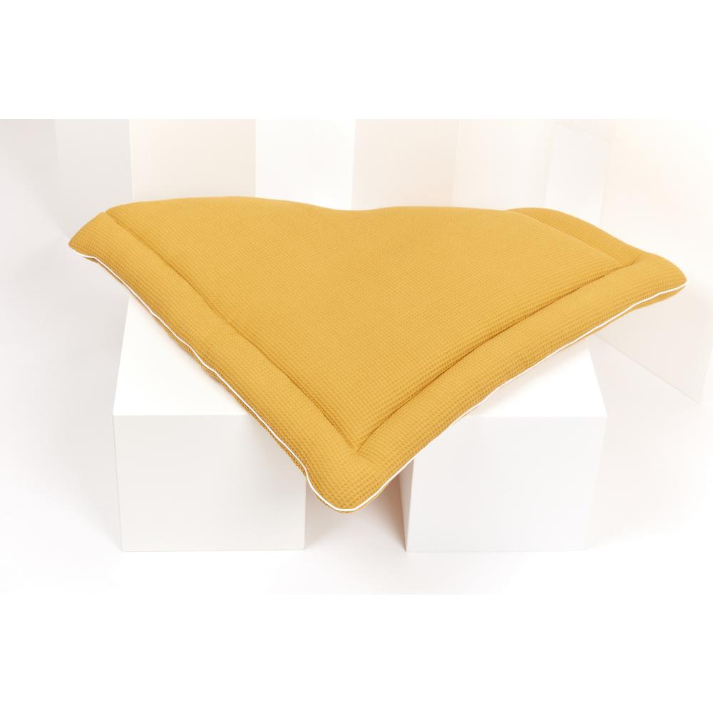 KraftKids Wickelauflage Waffel Piqué mustard breit 78 x tief 78 cm z. B. für MALM oder HEMNES Kommodenaufsatz von KraftKids