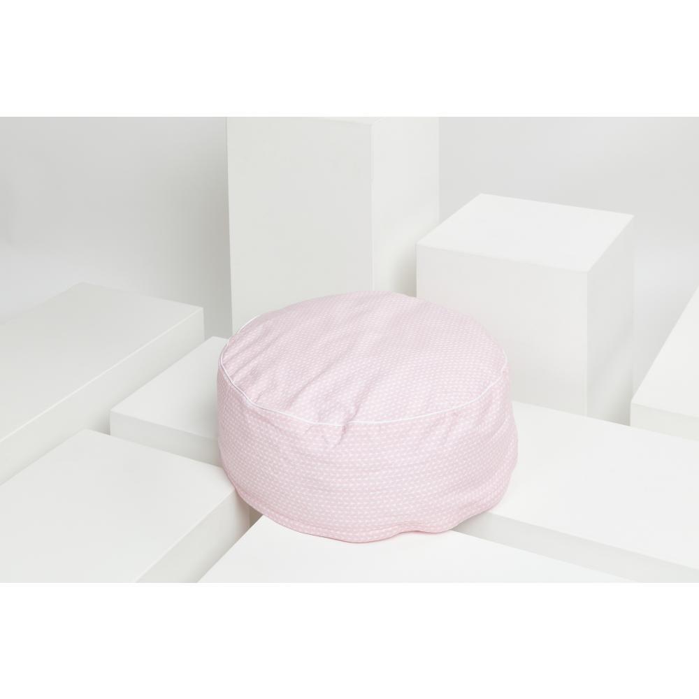 KraftKids Sitzpuff kleine Blätter rosa auf Weiß mit Micro-EPS-Perlen mit TOXPROOF-ZERTIFIKAT des TÜV-Rheinland