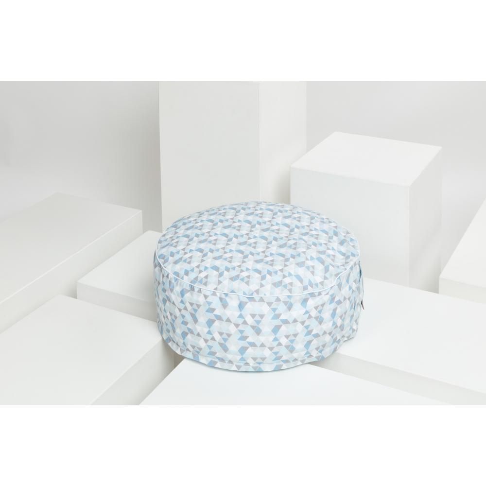 KraftKids Sitzpuff kleine Dreiecke blau grau weiß mit Micro-EPS-Perlen mit TOXPROOF-ZERTIFIKAT des TÜV-Rheinland