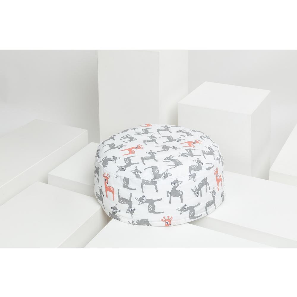 KraftKids Sitzpuff kleine Rehkitze grau orange auf Weiß mit Micro-EPS-Perlen mit TOXPROOF-ZERTIFIKAT des TÜV-Rheinland