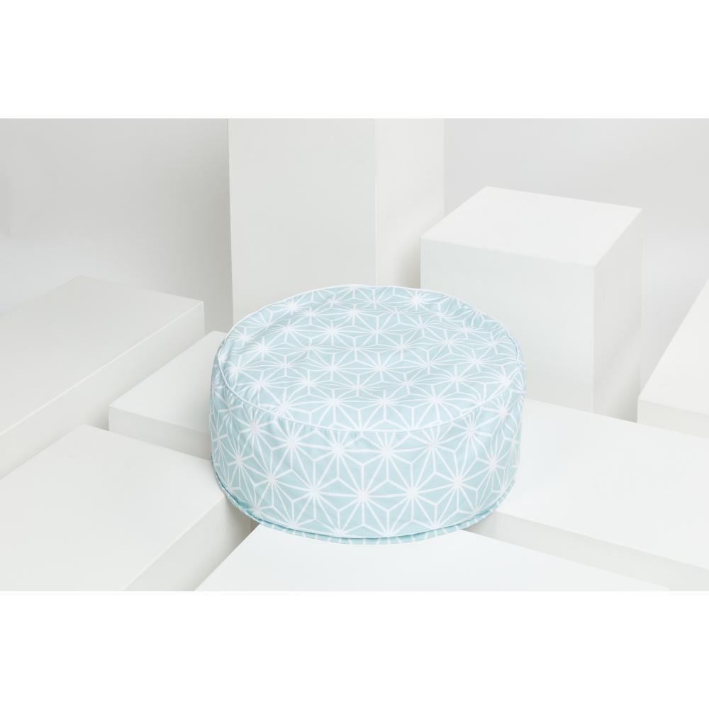 KraftKids Sitzpuff weiße Diamante auf Pastel Blau mit Micro-EPS-Perlen mit TOXPROOF-ZERTIFIKAT des TÜV-Rheinland