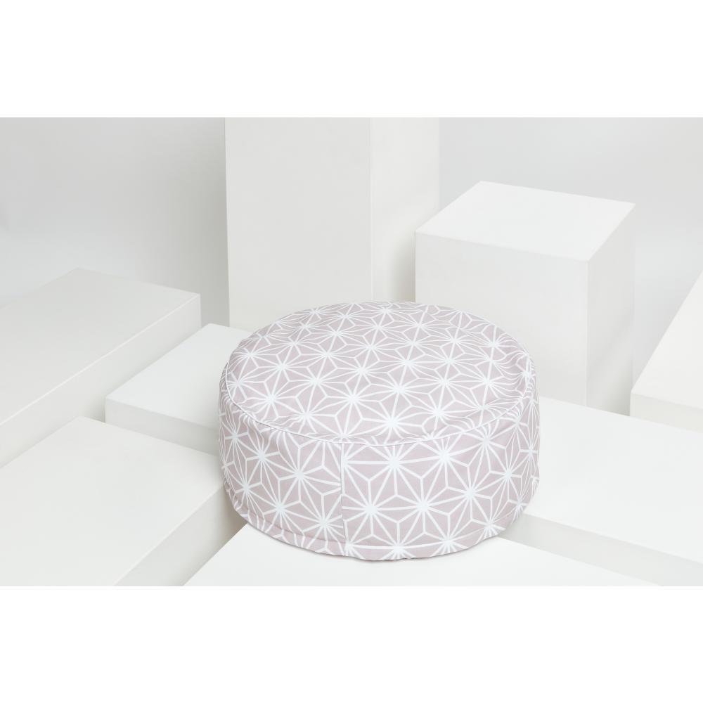 KraftKids Sitzpuff weiße Diamante auf Cameo Rosa mit Micro-EPS-Perlen mit TOXPROOF-ZERTIFIKAT des TÜV-Rheinland