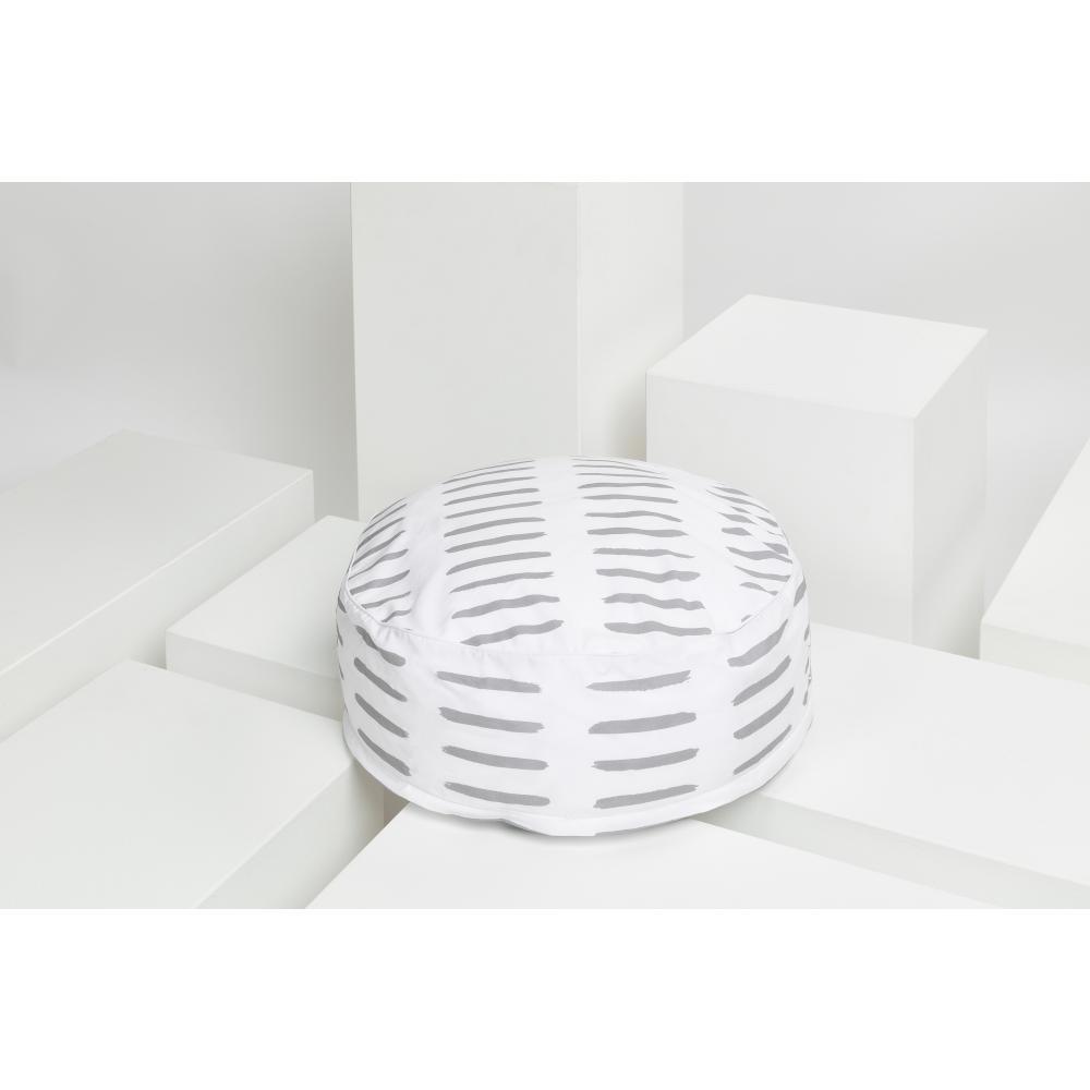 KraftKids Sitzpuff graue Striche auf Weiß mit Micro-EPS-Perlen mit TOXPROOF-ZERTIFIKAT des TÜV-Rheinland