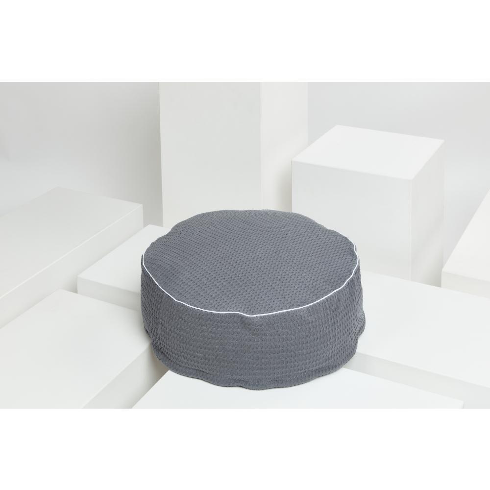 KraftKids Sitzpuff Waffel Piqué grau mit Micro-EPS-Perlen mit TOXPROOF-ZERTIFIKAT des TÜV-Rheinland