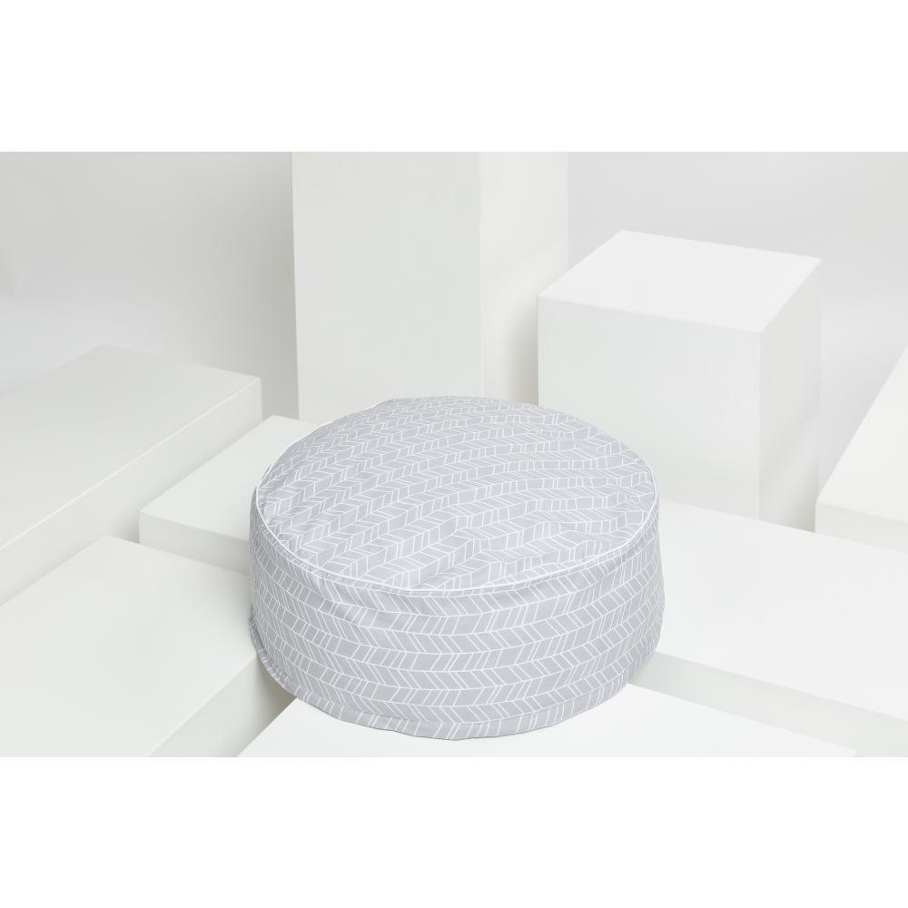 KraftKids Sitzpuff weiße Feder Muster auf Grau mit Micro-EPS-Perlen mit TOXPROOF-ZERTIFIKAT des TÜV-Rheinland