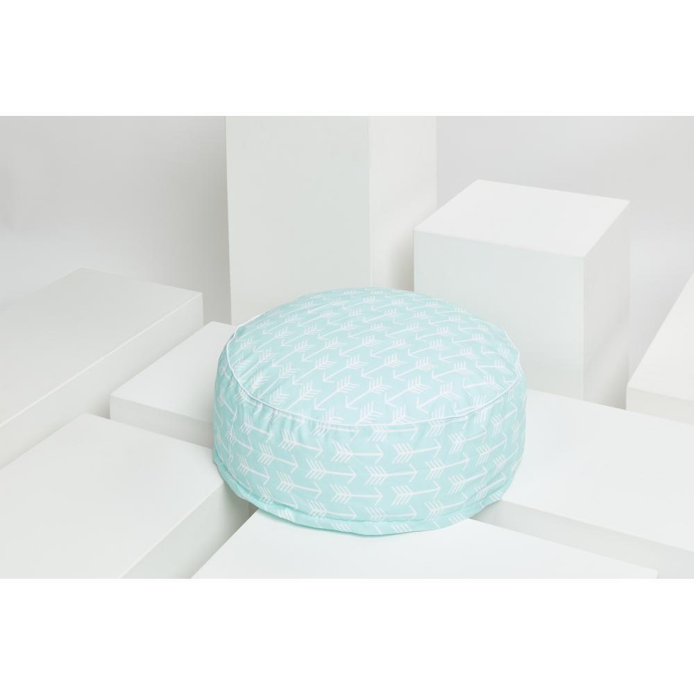 KraftKids Sitzpuff weiße Pfeile auf Mint mit Micro-EPS-Perlen mit TOXPROOF-ZERTIFIKAT des TÜV-Rheinland