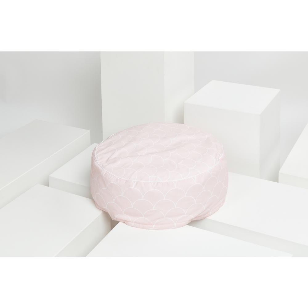 KraftKids Sitzpuff weiße Halbkreise auf Pastelrosa mit Micro-EPS-Perlen mit TOXPROOF-ZERTIFIKAT des TÜV-Rheinland