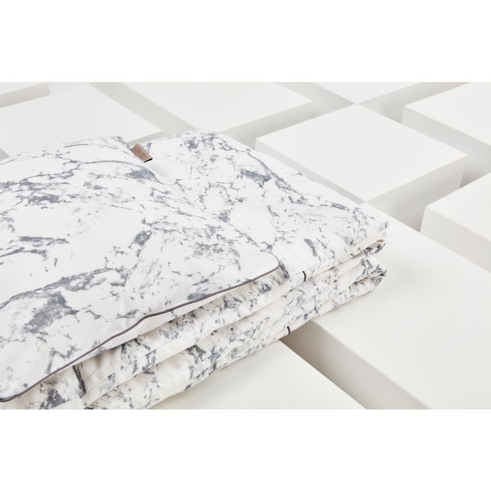 KraftKids Bettwäscheset weißer Marmor 140 x 200 cm, Kissen 80 x 80 cm